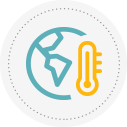 Icon for climate showing globe and thermometer.