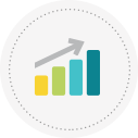 Icon for jobs showing graph with upwards arrow.