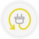 Icon of electricity showing an electrical cord and plug