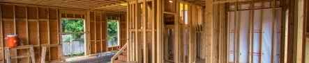 Photo of the interior of a building under construction.